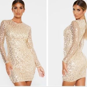 Gold Sequin Long Sleeved Bodycon Dress!